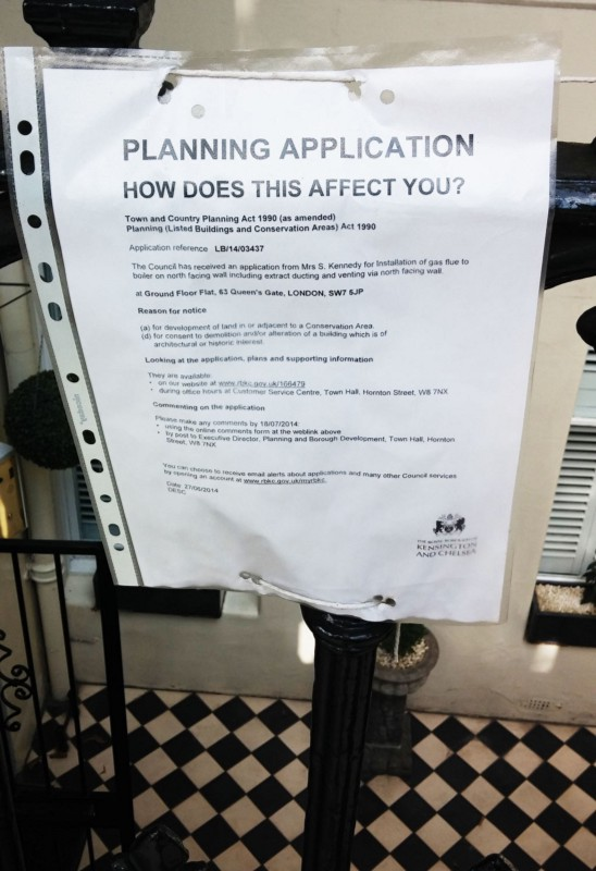 Planning notice, Kensington, London