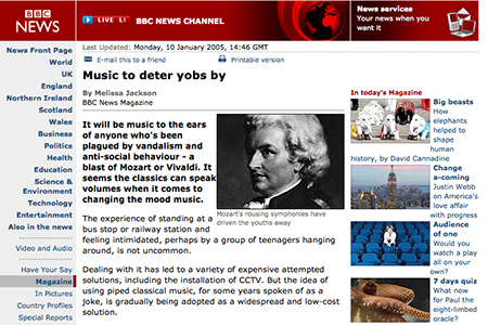 BBC story on use of classical music