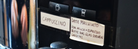 Annotated coffee machine at the Good School, Hamburg