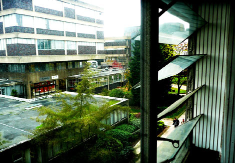 Office window, Howell Building, Brunel University